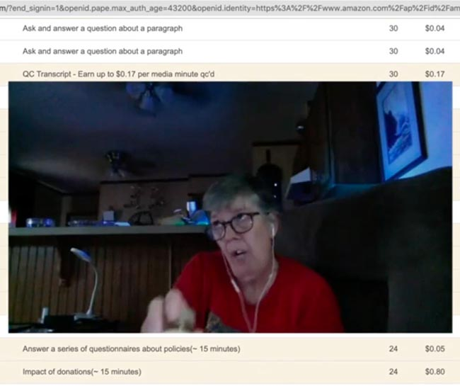 Person speaking into webcam overlaid on web interface